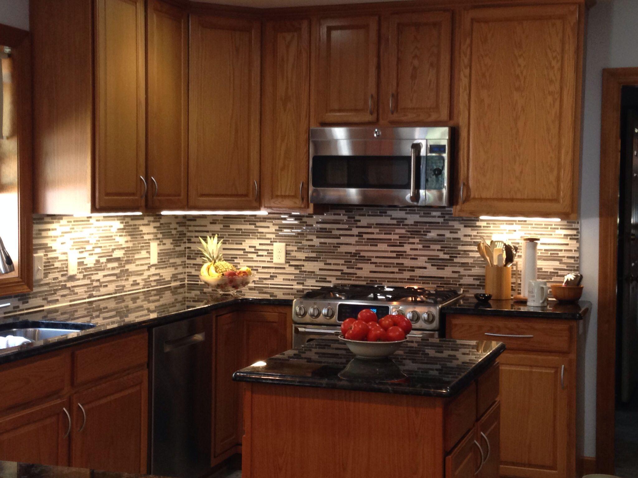 Volga Blue Granite With Oak Cabinets Kitchen Upgrades Kitchen Home Decor