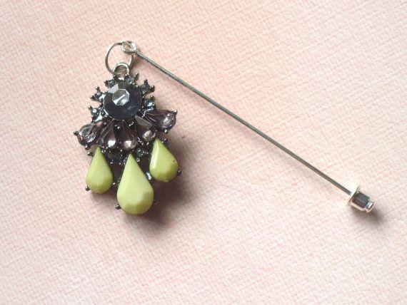Rhinestone Hijab Pin : Sage Green Smoky Jewels by WingedPony