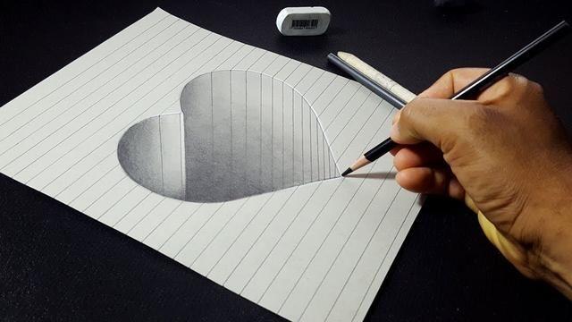 How To Draw A 3d Hole Heart Shape Easy 3d Drawings For Kids Desenhos A Lapis 3d Video De Desenho Desenho De Ilusao De Otica