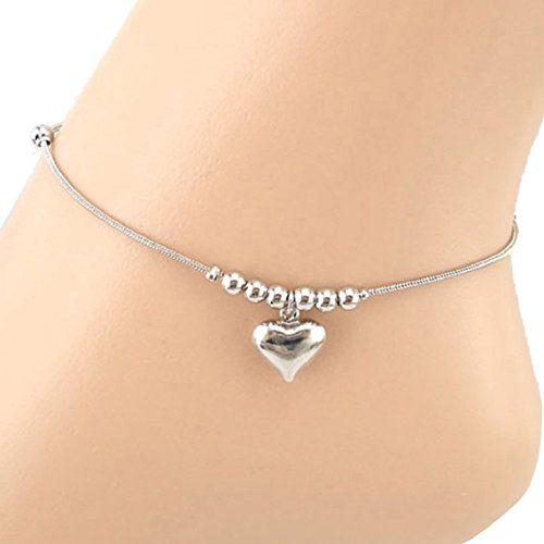 Hematite Heart Anklet Ankle Bracelet Summer Jewelry Heart Anklet