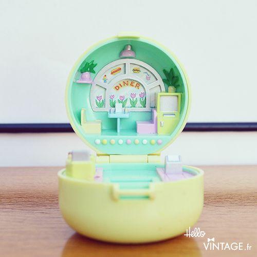"Jouet vintage mini Polly Pocket jaune "" 50's diner "" - Hello Vintage shop"