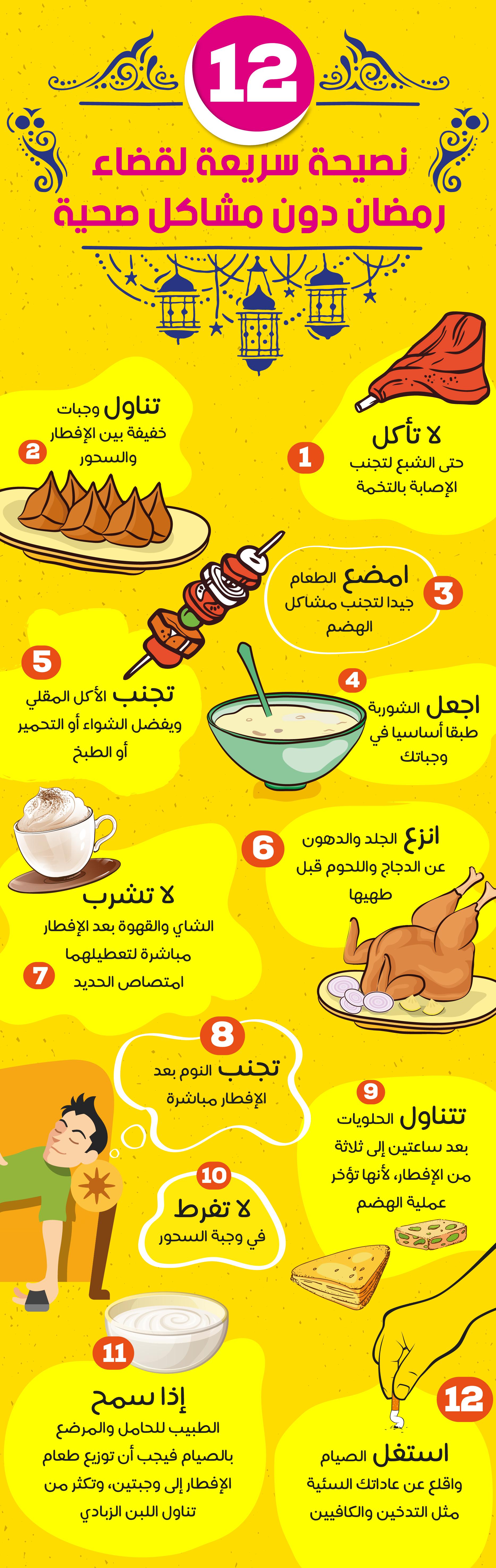 إنفوجرافيك 12 نصيحة سريعة لقضاء رمضان دون مشاكل صحية Fatafeat Food Tasty
