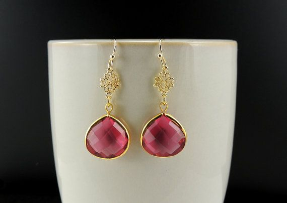 Romantic Hot Pink/Red Gold Drop Earrings. by SimpleElegantJewelry, $20.00