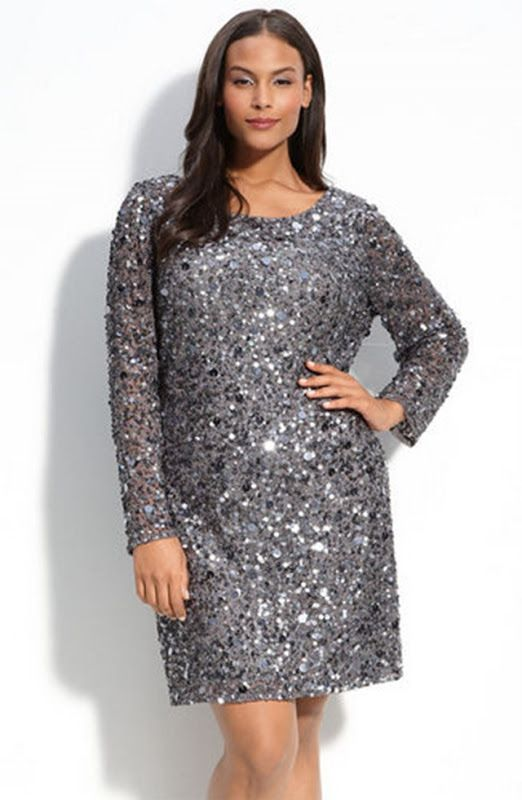 Aidan Mattox Long Sleeve Sequin Velvet Dress (Plus Size) Bla ...