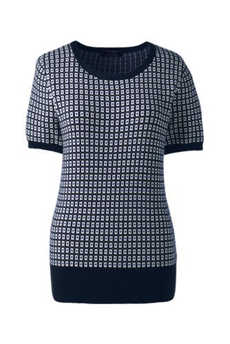 6601931d6e Women s+Short+Sleeve+Supima+Jacquard+Sweater+from+Lands +End