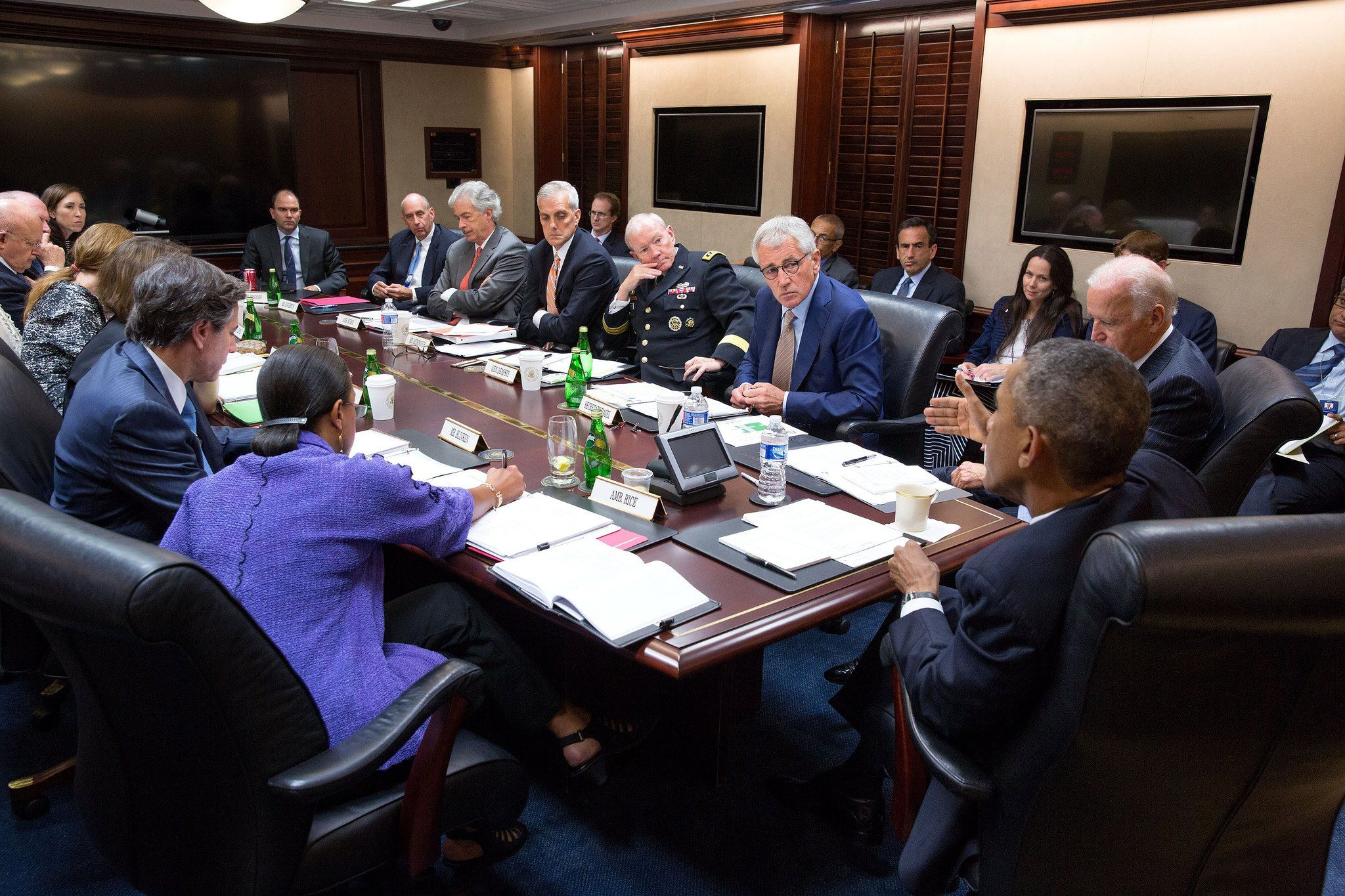 September 10, 2014 - President Obama meets with his national security team in the Situation Room to discuss strategy against ISIS - White House Photo by Pete Souza.