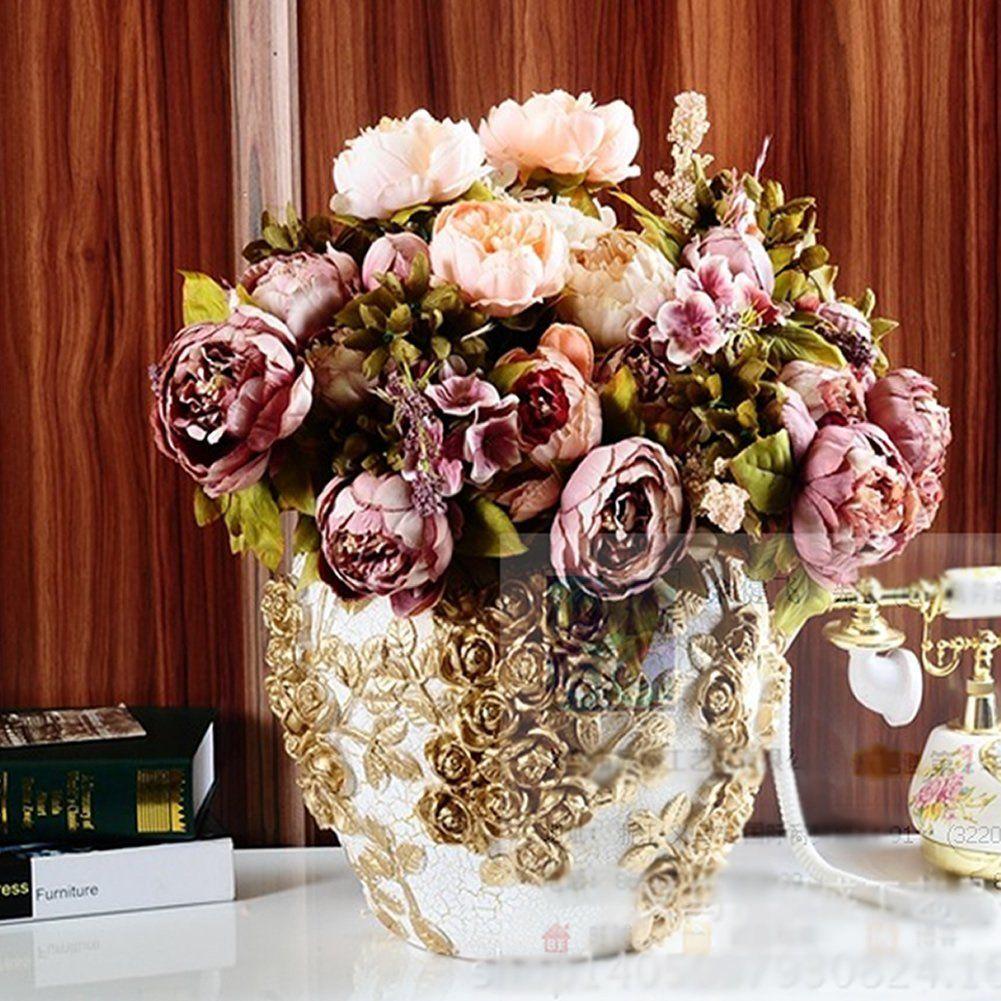 Amazon Heroneo 10 Head Bouquet Vintage Artificial Peony Silk