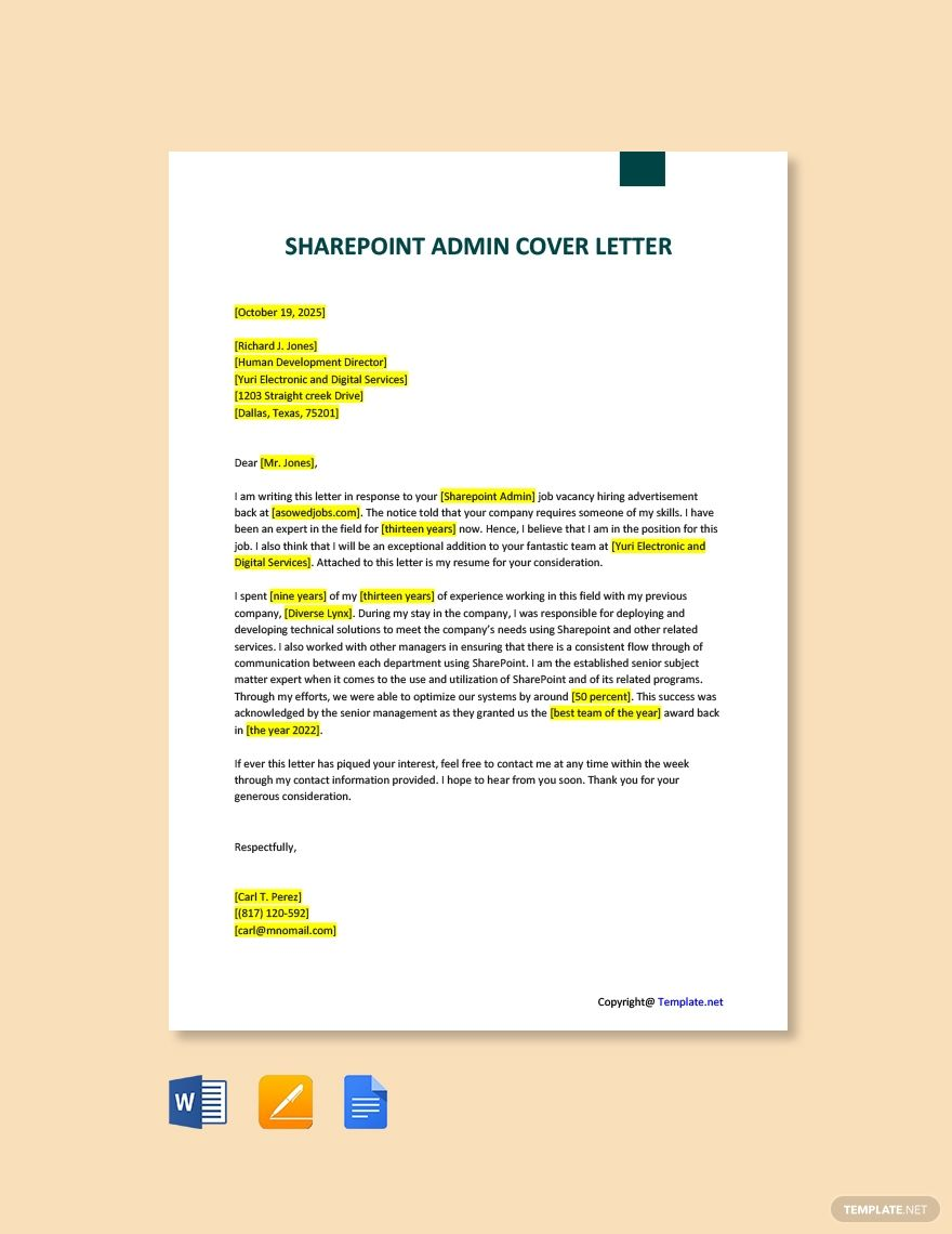 Free Sharepoint Admin Cover Letter Template in 2020