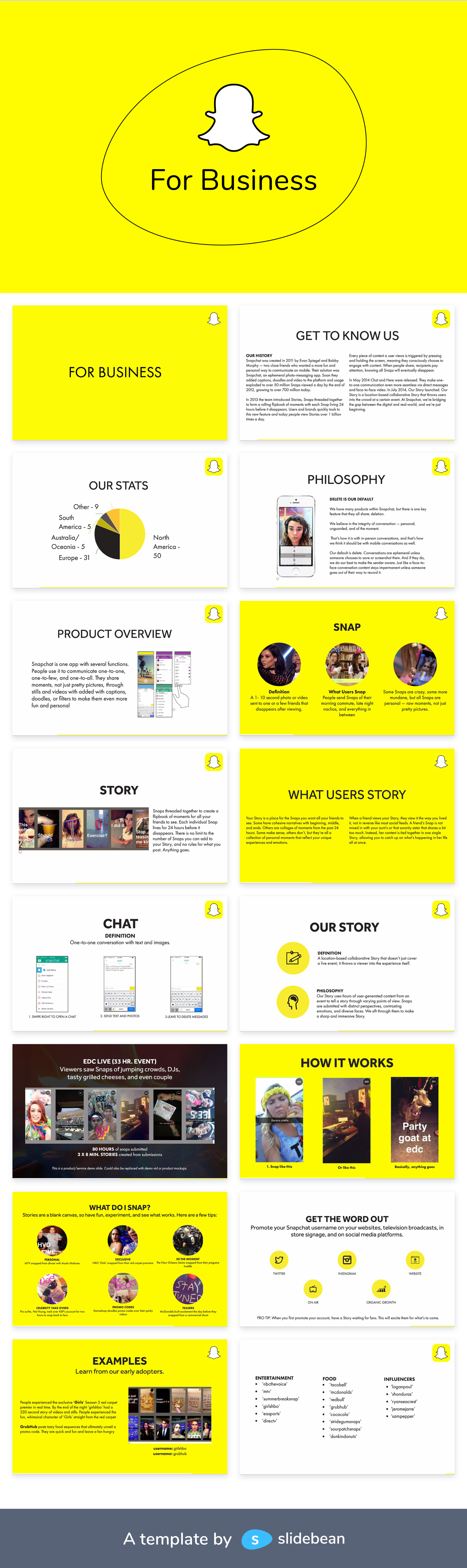 Snapchat Pitch Deck Template Free Pdf Ppt Download Slidebean Label Templates Templates Card Template