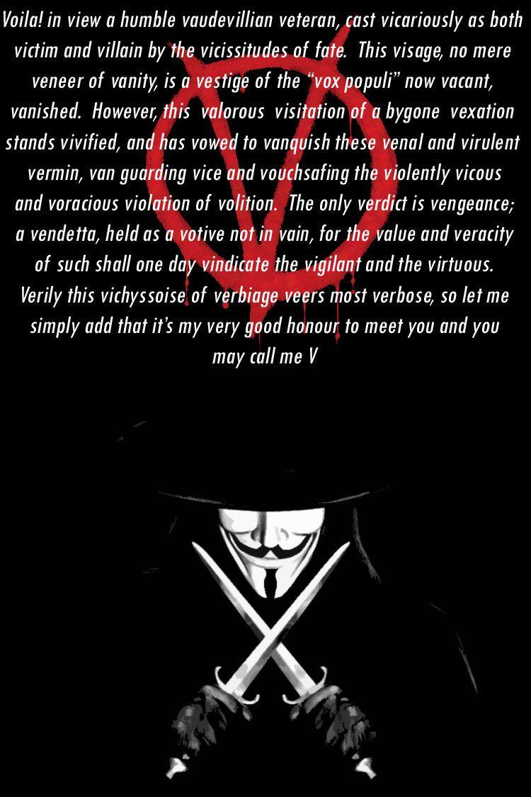 V For Vendetta V For Vendetta Vendetta Movie Quotes