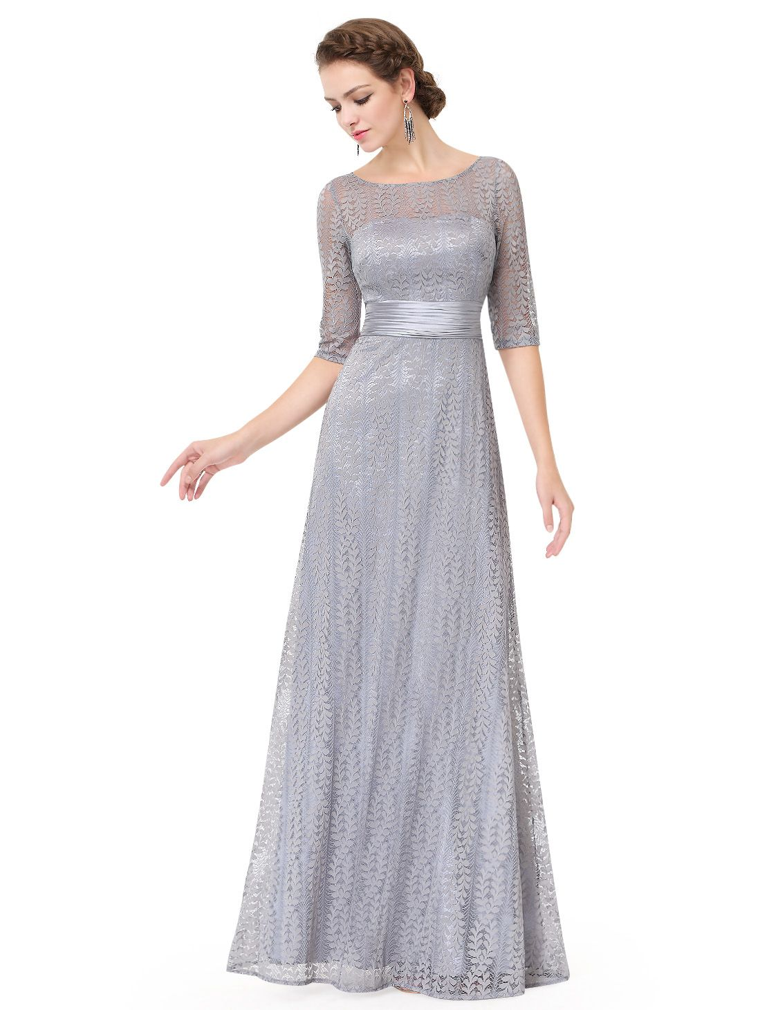 f37a0c4f200 Ever-Pretty Women s Elegant Long A-Line Floral Lace Formal Evening Wedding  Guest Mother of the Bride Dresses 08878 for Women Grey 4 US Floral