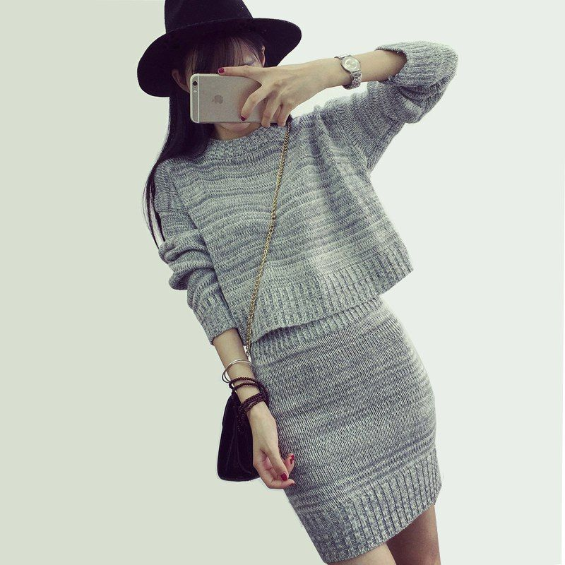 443375928ced Discover ideas about Club Dresses. Women Ladies New Arrival 2 Piece Set  Wool Knit Women Dress Autumn ...