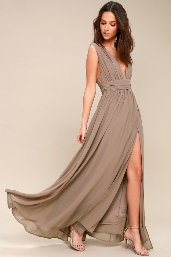 Heavenly Hues Taupe Maxi Dress Taupe Maxi Dress Taupe Bridesmaid Dresses Beige Bridesmaid Dress
