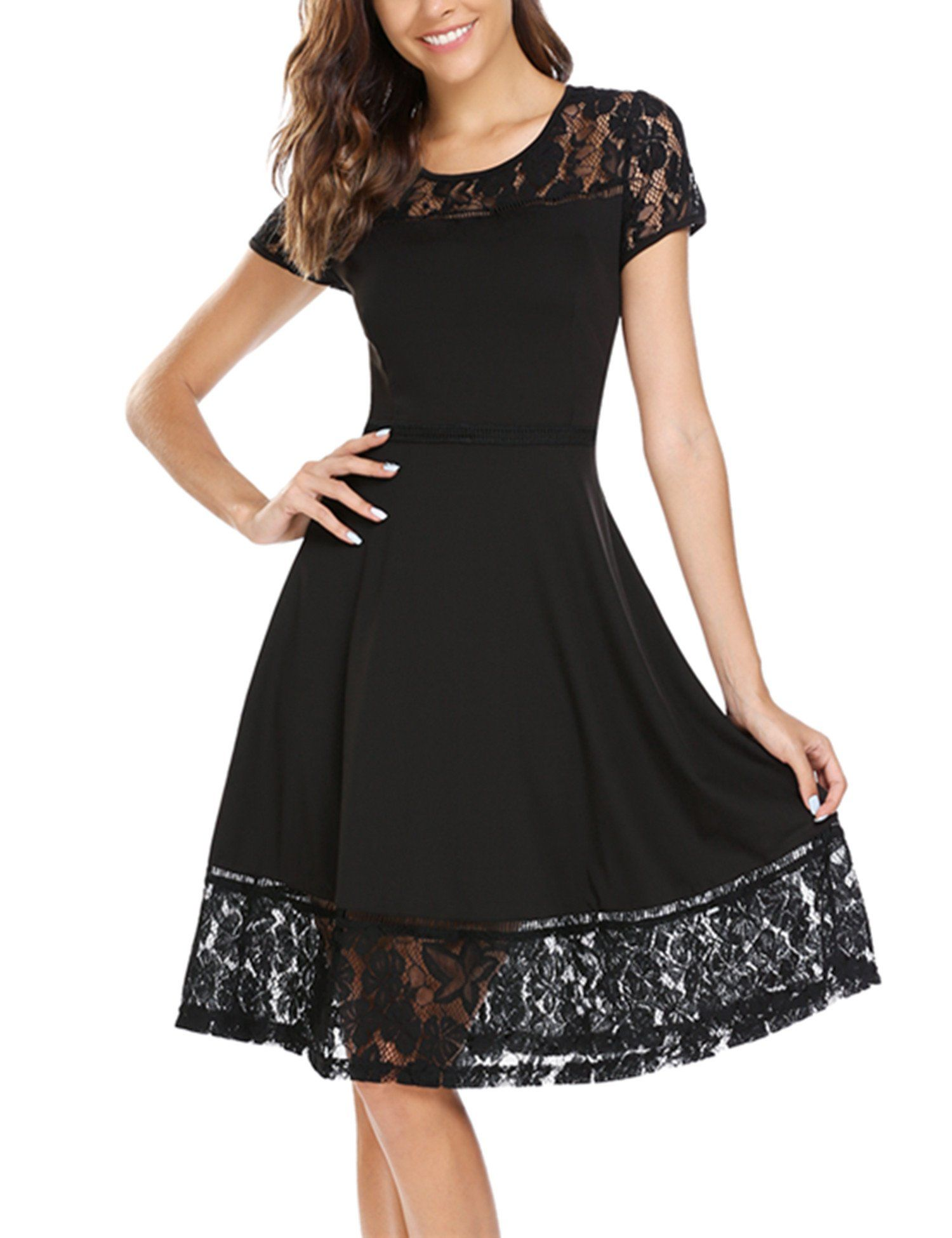 41c781bd78e ANGVNS Women Vintage Short Sleeve A Line Floral Lace Patchwork Pleated Midi Dress  Black S     You can find out more details at the link of the image.