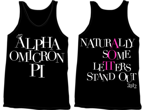 AOII Naturally Some Letters Stand Out tank