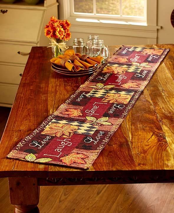 Fall Country Dining Decor Live Laugh Love Table Runner Autumn Leaves