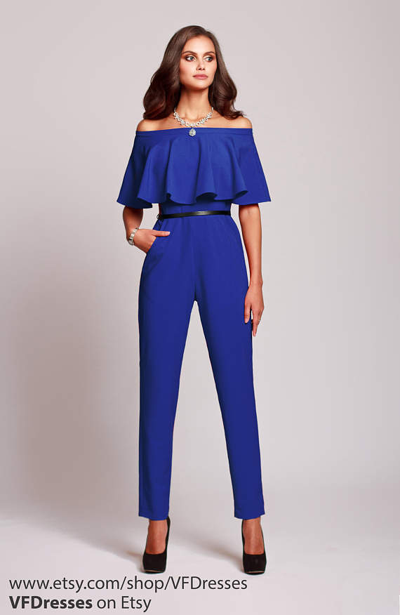 Blue Jumpsuit Womens Jumpsuit Wedding Jumpsuit Festive Etsy Jumpsuits For Women Formal Jumpsuits For Women Festival Outfits