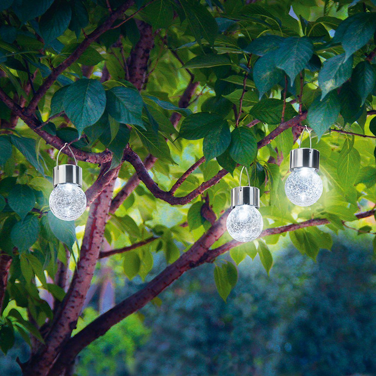 Perfect LED Solarh ngeleuchten Crackle Balls in uGarten u Hausbeleuchtung u