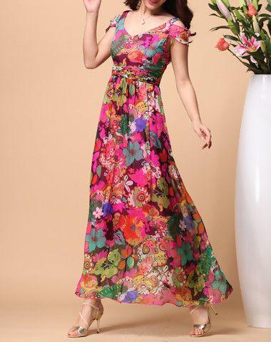 c4ad6afef3d Shop acemiss colormix floral silk beach dress here