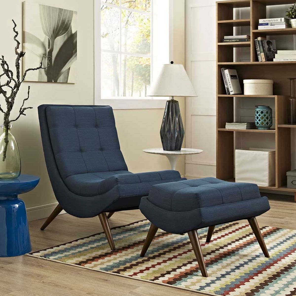 Modway Ramp Fabric Lounge Chair Set Chair And Ottoman Set Fabric Lounge Chair Living Room Modern