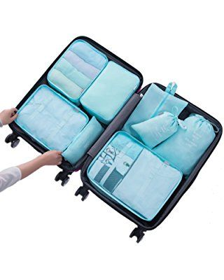Belsmi 8 Set Packing Cubes Waterproof Compression Travel Luggage