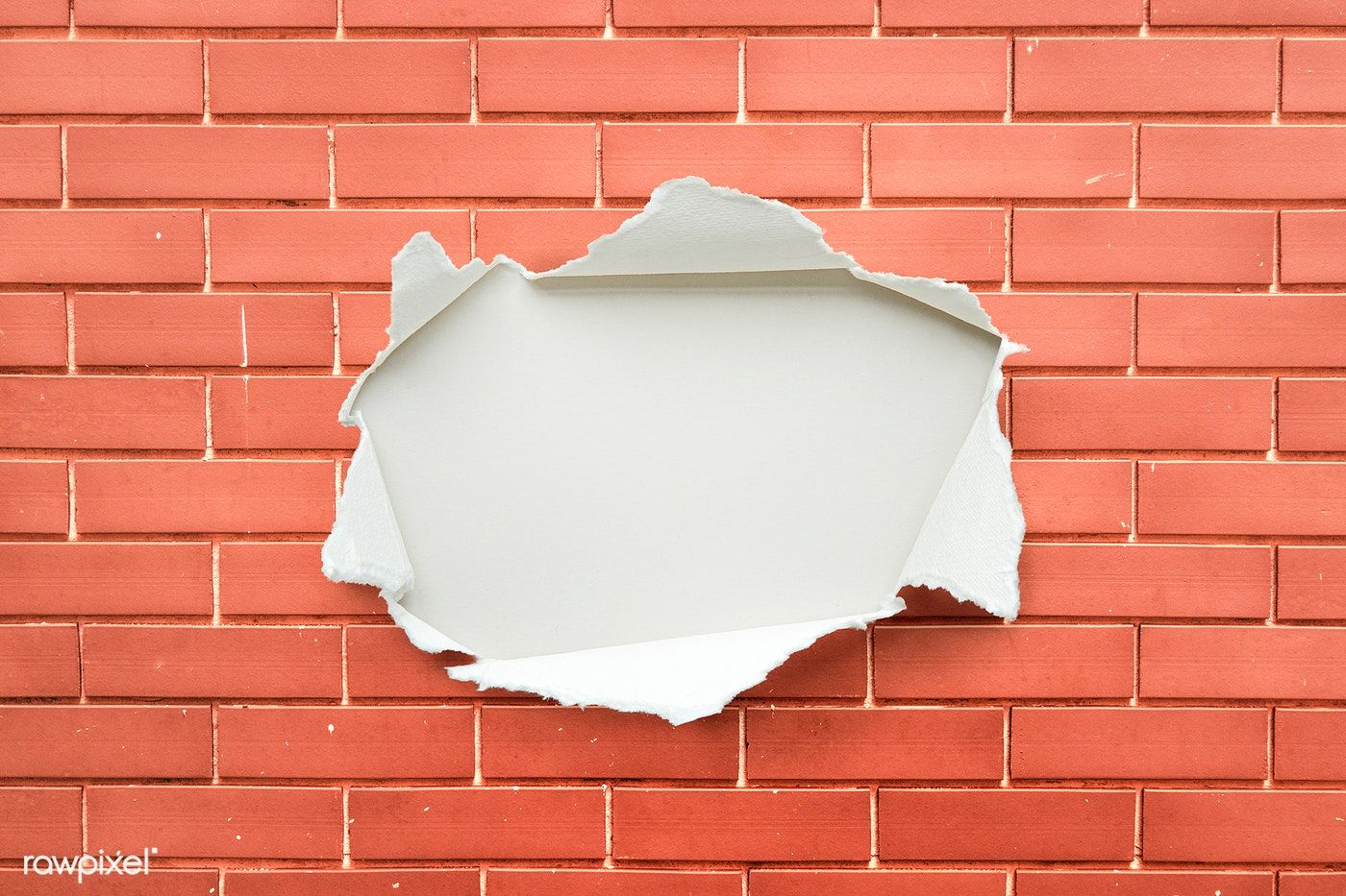 Download Premium Psd Of Torn Paper Mockup On A Brick Wall 1015193 Paper Mockup Torn Paper Design Mockup Free