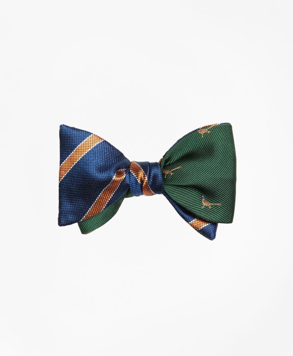84f51bd469bb Brooks Brothers Framed Bar Stripe with Pheasant Motif Reversible Bow Tie |  This bow tie is crafted from pure silk. Self-tie with either side facing  out.