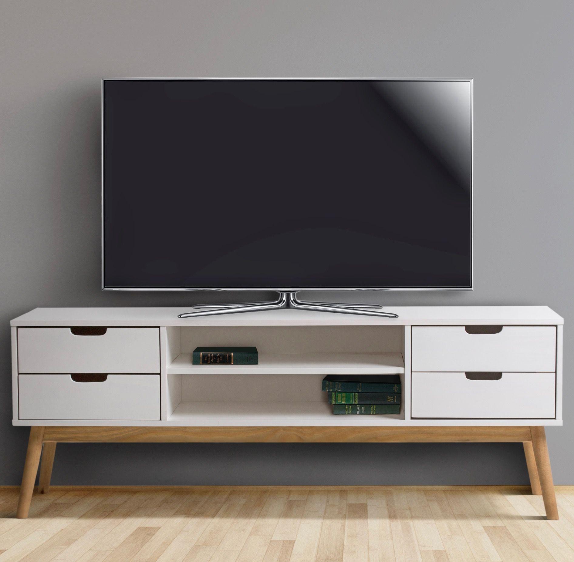 Meuble Tv Bobochic Paris Meuble Tv Blanc Maela En Bois Massif Meuble Blanc Avec Tiroir Ideale Pour Le R Living Room Wood Living Room Trends Solid Wood Cabinets