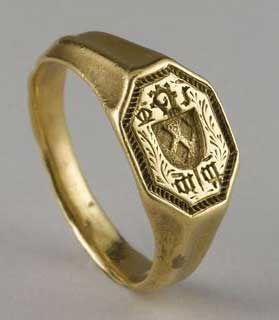 Vintage Style Italian Scroll Signet Ring