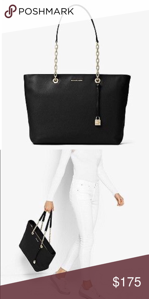a162c6f567a0 MICHAEL KORS Black Mercer tote NWT Chain-link handles and a softly  structured silhouette elevate