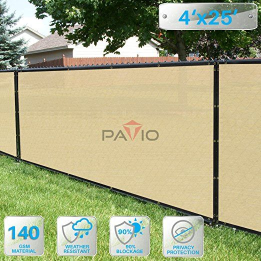 4 X 25 Privacy Screen Fence In Beige Commercial Grand Mesh Shade Fabric With Brass Gromment Outdoor Windscren With Images Outdoor Backyard Backyard Shade Wind Screen