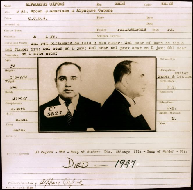 Capone Intake Card Arts And Crafts For Teens Al Capone Scarface
