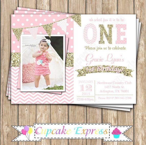Un primer cumpleaños niña coral rosa oro brillo por CupcakeExpress