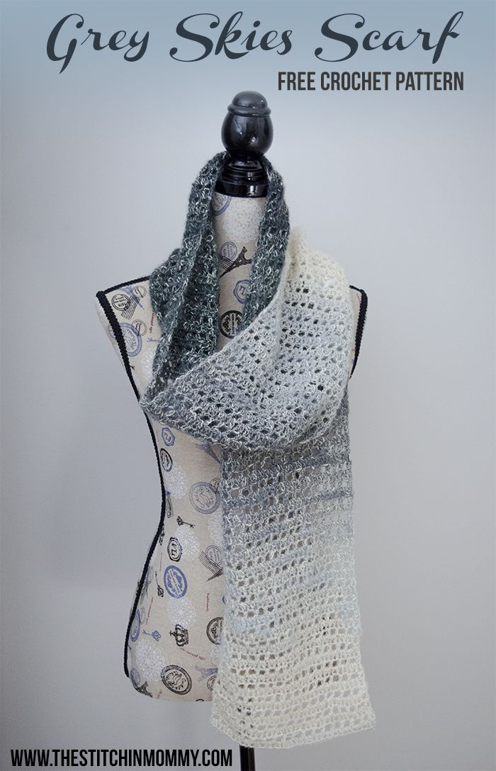 Grey Skies Scarf - Free Crochet Pattern | Bordes de ganchillo ...