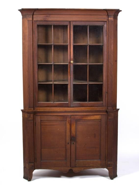Northern Shenandoah Valley, Virginia or Maryland, inlaid cherry corner  cupboard, yellow pine secondary wood, untouched surface and condition. - Northern Shenandoah Valley, Virginia Or Maryland, Inlaid Cherry