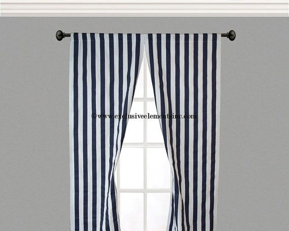Stripe Curtain Panels Navy And White Stripe Curtains Drapery Window