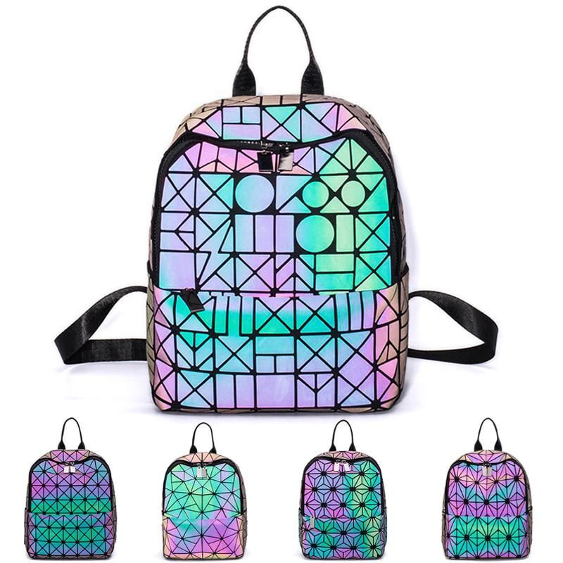 6005823f5c Women Holographic Backpack Luminous Geometric Drawstring Reflective Female  Backpack Leather School Bags For Teenage Girls sac. Yesterday s price  US   70.20 ...