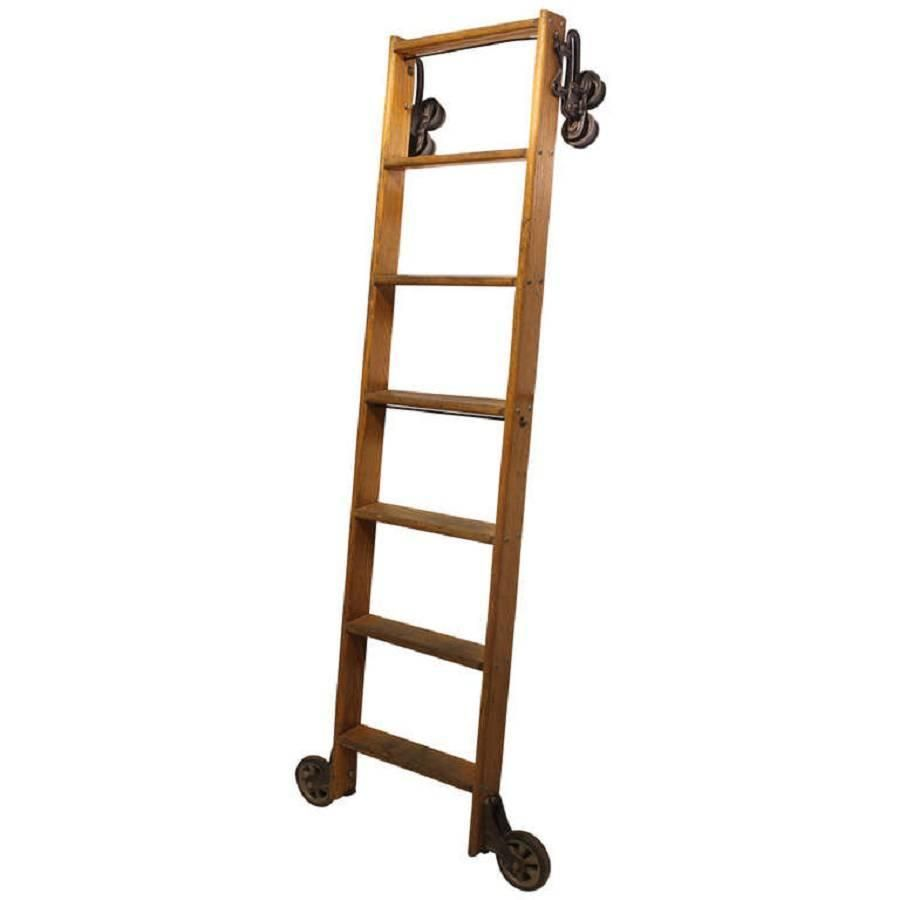 Antique American Oak Library Ladder 1 Library Ladder Ladder Vintage Ladder