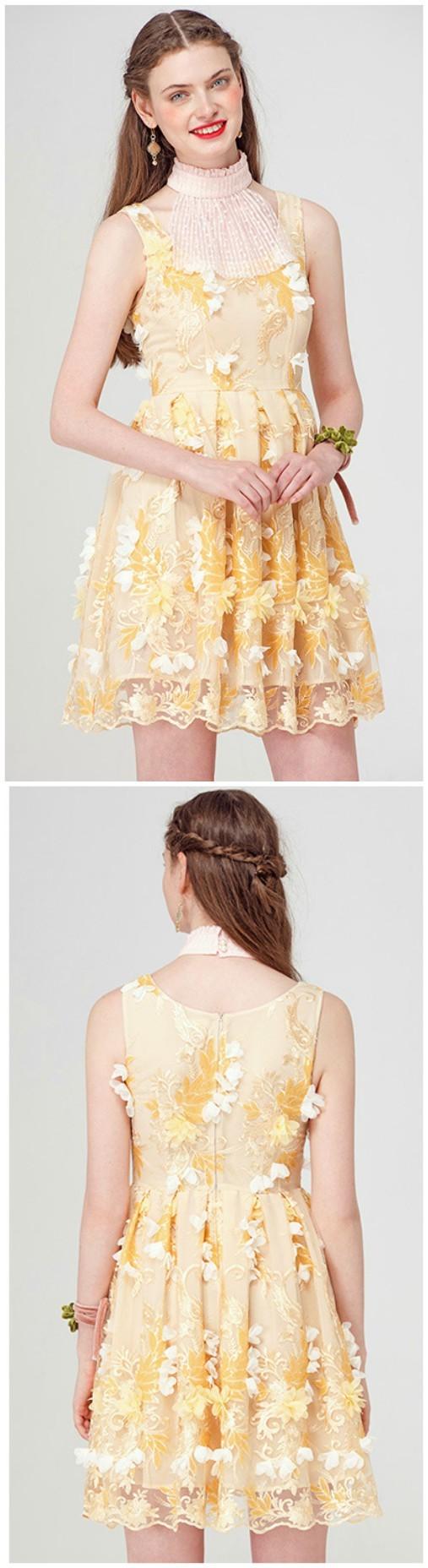 Yellow high neck flowers short party dress flower shorts short