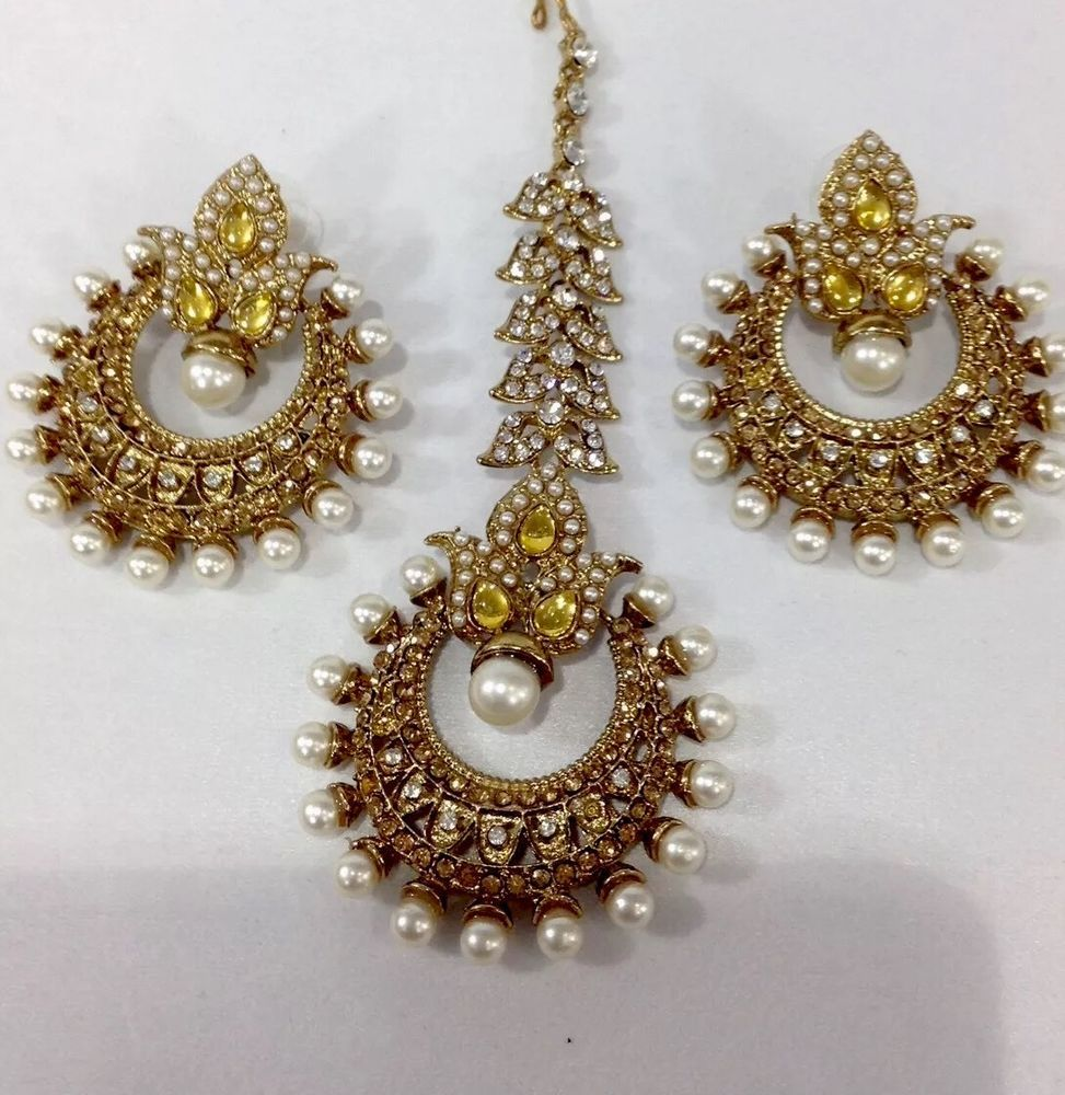 New Bollywood Indian Costume Jewellery Earring Tikka Set Stone Gold