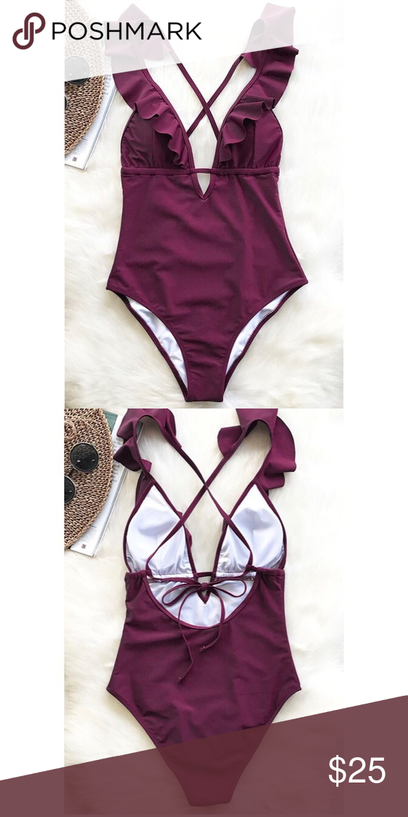 2a7c06ac3da5f NEW One-piece Swimsuit NEVER BEEN WORN Heart Attack Falbala One-piece  Swimsuit Details: Color: Wine Red Falbala design Tie at back With padding  bra Regular ...