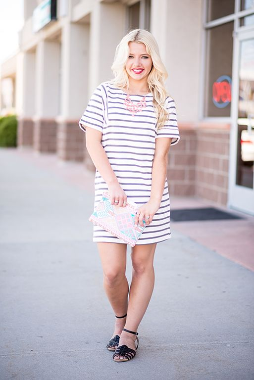 3d72450568b Grey Striped Tunic Dress - My Sisters Closet
