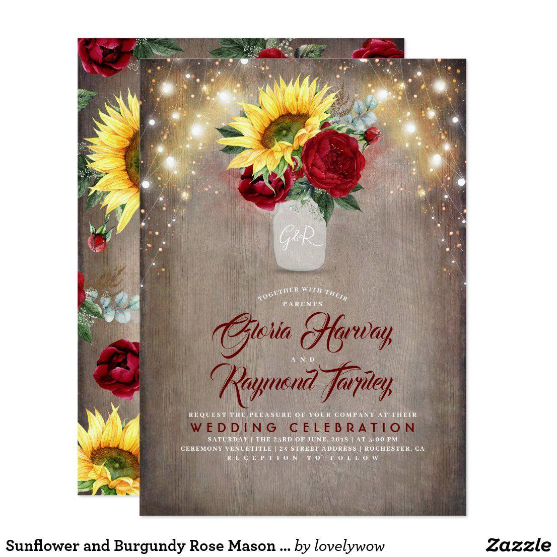 Sunflower and Burgundy Rose Mason Jar Fall Wedding Invitation | Zazzle.com