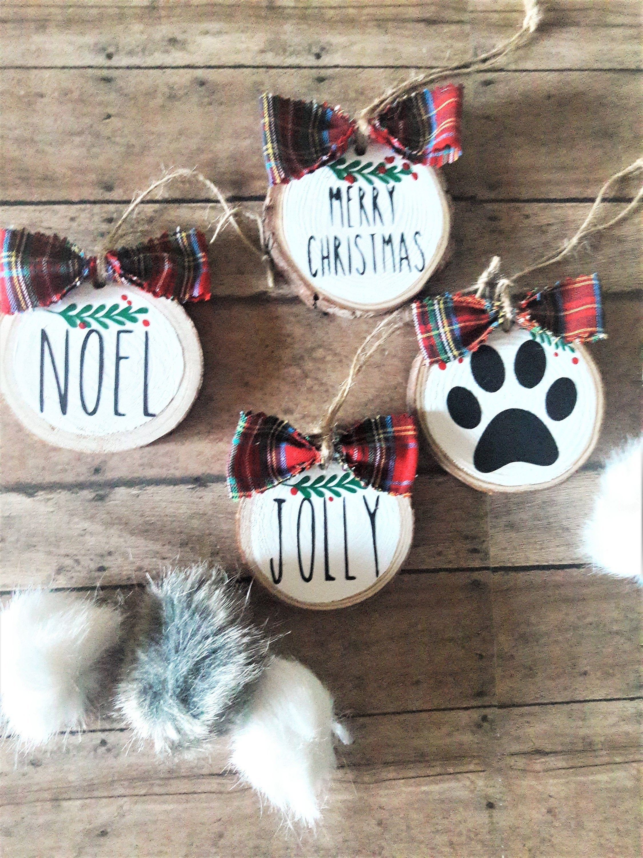 Christmas Ornament Wood Slice Ornament Dog Mom Ornament Pow Etsy Christmas Ornaments Wood Slice Ornament Wooden Christmas Ornaments