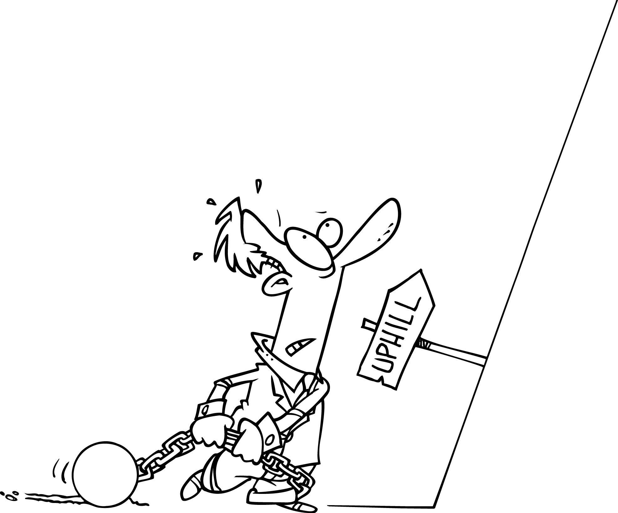 Running Up A Hill Cartoon