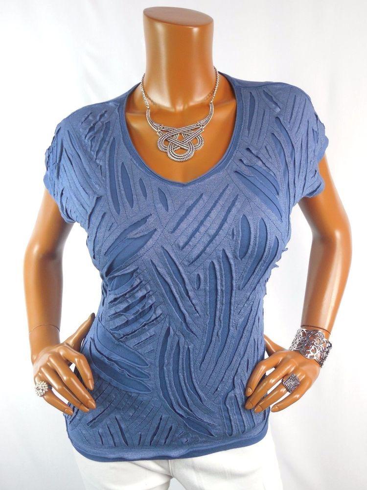 Chico S Sz 1 Womens Top S M Blue Shirt Metallic Distress Blouse
