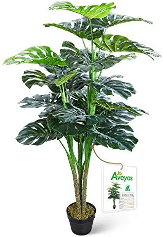 Amazon Com Artificial Plants 50 To 59 9 In Artificial Plants Flowers Home Decor Home Kit Plastic Nursery Pots Monstera Deliciosa Living Room Plants Fake plants for home decor