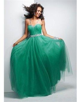 95527f97207 Elegant Tulle Satin Halter Green Quinceanera Dress!
