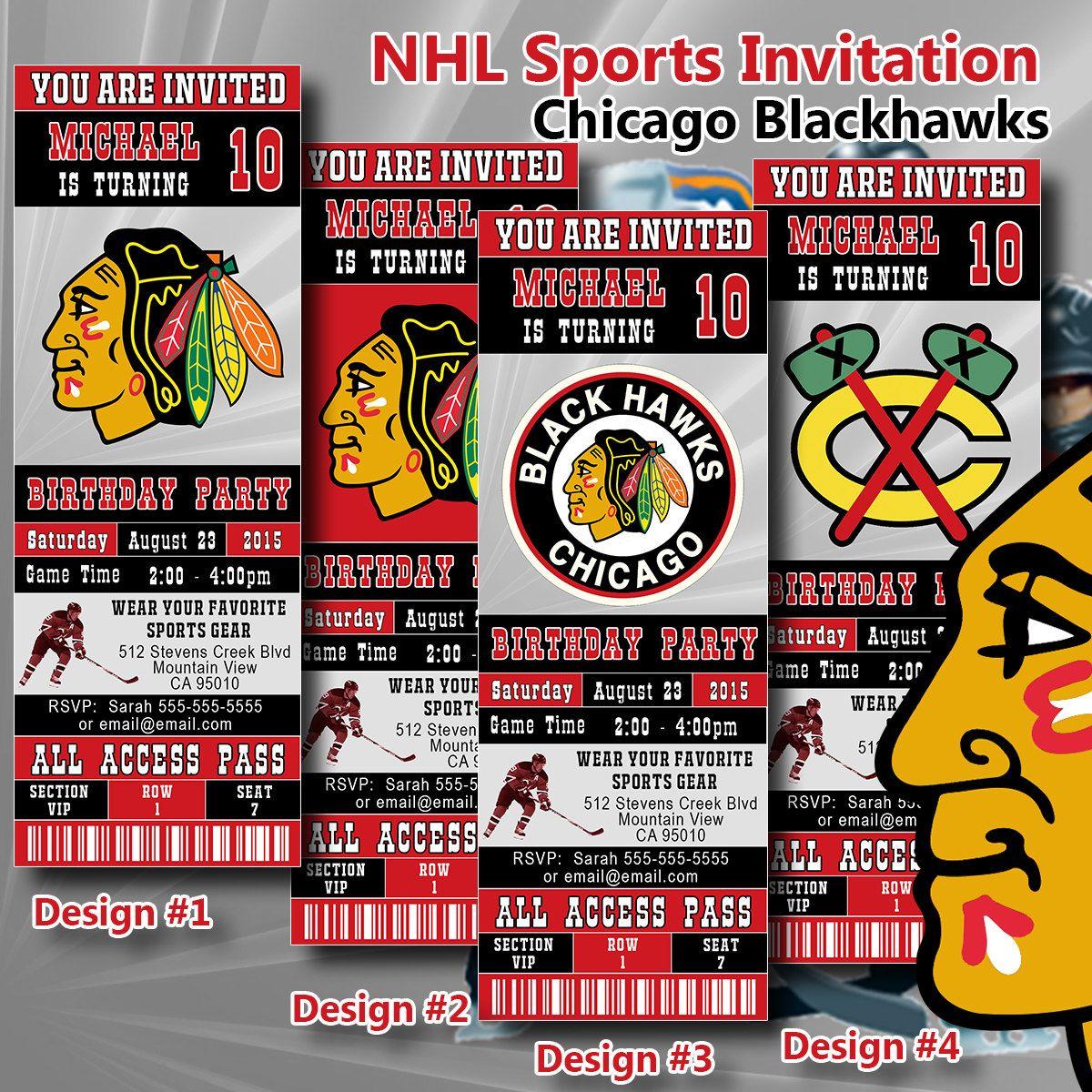 Chicago Blackhawks NHL Birthday Invitation Hockey Ticket Invitation ...