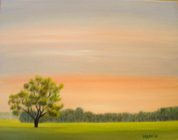 SOLD THANK YOU Sunrise oil painting original artwork by MARVINSTUDIO on Etsy, $25.00 Great for Christmas